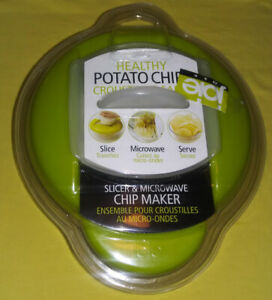 Joie Healthy Microwave Potato Chip Maker / Slicer Cooker Green New