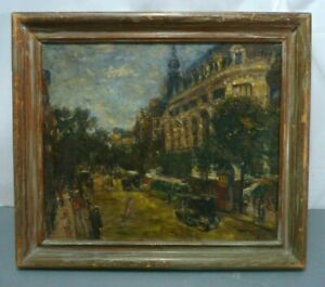Antique Painting on Canvas Giuseppe Marino ? Signed Framed Impressionism Vtg $249.00