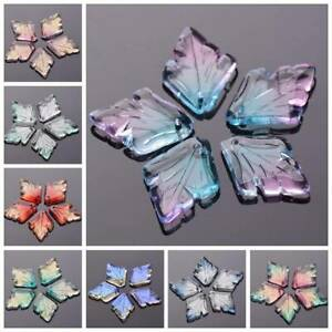 10pcs 25x18mm Leaf Charm Crystal Glass Loose Pendants Beads DIY Jewelry Findings $2.58
