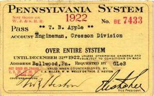 1922 PENNSYLVANIA SYSTEM RAILROAD PASS OVER ENTIRE SYSTEM $16.00