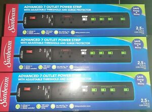 3 NEW Sunbeam Advanced 7 Outlet Power Strip Surge Protector with Master Control $25.00