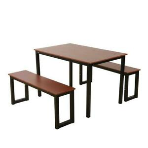 3 Piece Set Dining Table with 2 Kitchen Benches Steel frame and Rich Wood Brown