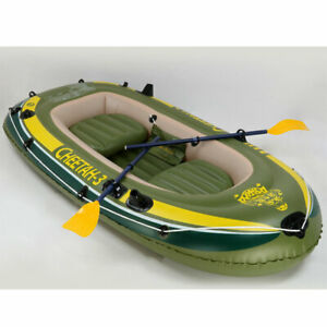 Fishing Boat 4 Person Inflatable Rafting Rod Holders Set with 2 Oars