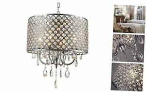 mirrea Crystal Chandelier Pendant Light, 4 Lights, with Crystal Beaded Silver