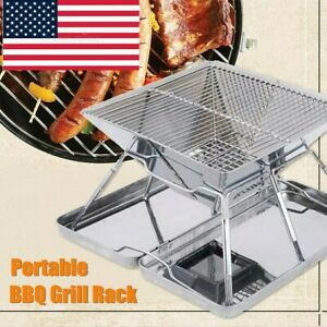 Outdoor Charcoal BBQ Grill Rack Stainless Steel Folding BBQ Barbecue Accessories
