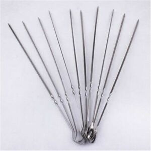 10Pc Stainless Steel Camping Barbecue BBQ Skewers Needle Kebab Kabob Stick