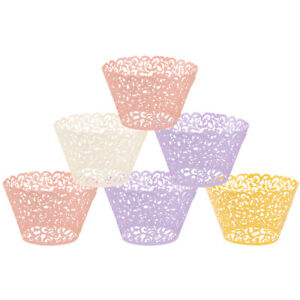 50 100 Filigree Vine Lace Cupcake Wrappers Cases Laser Cut Box Wedding Cake Gift