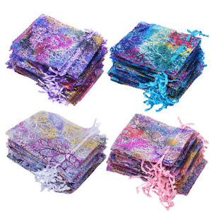 50 100 Coralline Organza Gift Bags Xmas Jewelry Pouch Drawstring Wedding Party