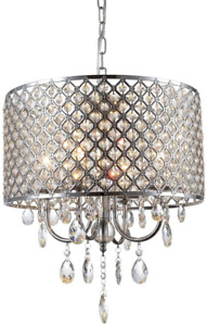 Mirrea Crystal Chandelier Pendant Light, 4 Lights, With Crystal Beaded Drum Shad