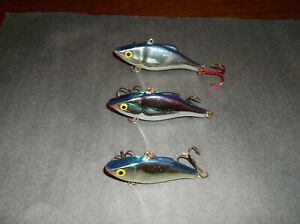 LOT OF 3 VINTAGE RAPALA FISHING LURES RATTLIN RAP RATTLES LIPLESS CHROME BLUE