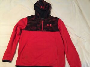 Under Armour Cold Gear Hoodie Sweatshirt Size Youth Large Loose Red Black Camo $14.00