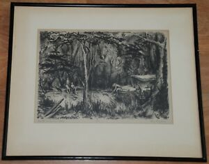 Art Lithograph of Ole Swimmin Hole by Kay Ripper(?)