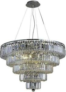 MAXIME CHANDELIER CONTEMPORARY 17-LIGHT CHROME SILVER SHADE GRAY CRYSTAL