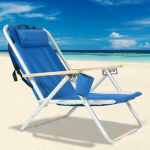 Backpack Beach Chair Folding Portable Chair Blue Solid Construction Camping