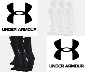 Under Armour UA Training Cotton Crew Socks 6 PACK FREE SHIP 1346789 $13.99
