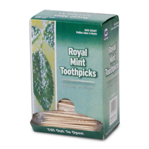 Lot Of 2000 Royal Mint Wooden Toothpicks - Individually Cello Wrapped