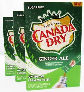 Canada Dry Ginger Ale 6 Packets Sugar Free Drink Mix Lot of 3