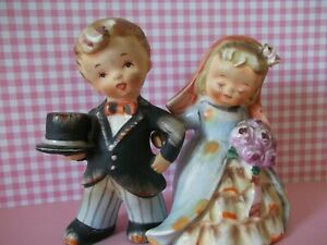 VTG.ANTIQUE bride and groom wedding cake toppers~BRIDES ARM WRAPS AROUND HIS~