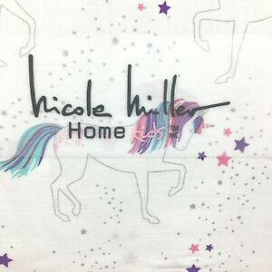 3pc Nicole Miller Unicorn Stars TWIN Sheet Set Cotton Pink Purple Turquoise NEW