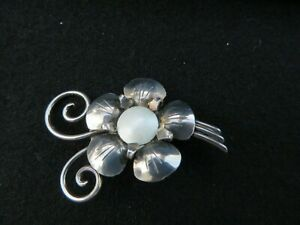 Vintage Norwegian Enamel Flower 830S Silver Brooch Pin Norway Signed TYA