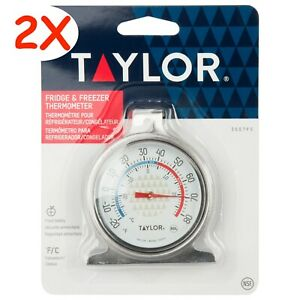 2 PIECES- TAYLOR 3507 STAINLESS FRIDGE & FREEZER THERMOMETER (NSF) ORIGINAL PACK