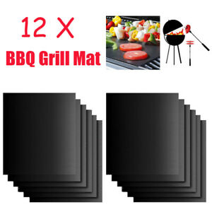 12x BBQ Grill Mat Non-Stick Reusable Sheet Bake Cook Microwave Oven Oven Liner