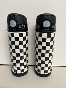 Lot Of (2) Thermos Funtainer 16 Ounce Bottle, Black & White Checkered No Straws
