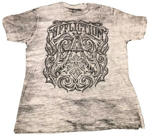 Affliction Mens Live Fast Size 2XL Gray Short Sleeve TShirt