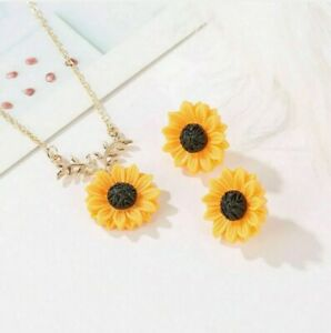Sunflower Necklace Gold Boho Pendant Chain Summer Clavicle Earrings New Color $9.99