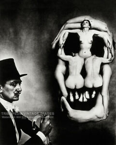 1951 Salvador Dali Skull of Nudes Photo Naked Women Skull Bizarre Odd Strange $7.95