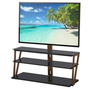 3 Tier Glass Shelf Floor TV Stand with Swivel Mount for 32