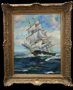 Important Antique Nautical Ship Painting by C. Syvertson (British) Oil on Canvas $950.00