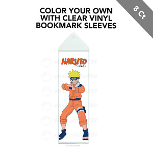 8 Naruto Color Your Own Bookmarks with Vinyl Sleeves Party Favor Gift
