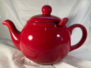 Teapot Large RED 6 Cup with Ceramic Infuser Classic Design Stoneware 3 Piece