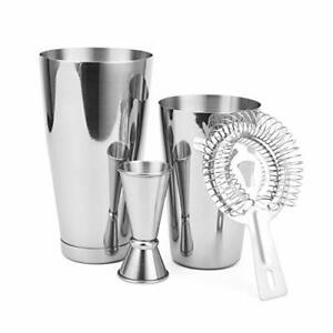 Boston Shaker 4 Piece Cocktail Making Set: 18oz Unweighted & 28oz Weighted Profe