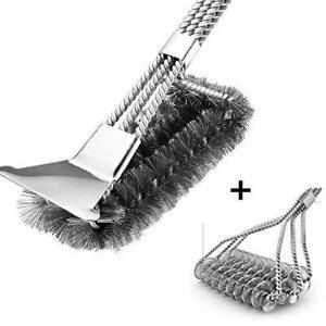 Grill BBQ Brush of 2 with Scraper Safe Grill Cleaning Brush Stainless Steel Bris