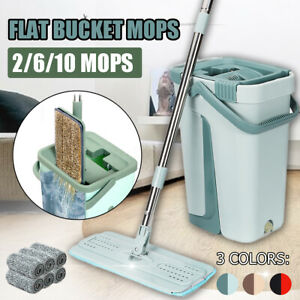 2/6/10 Pads Self Cleaning Mop Bucket System Flat Floor Drying Wringing Free Hand