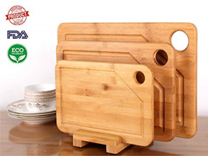 Premium Bamboo Cutting Board - 3 Set Large, Medium and Small with the Holder