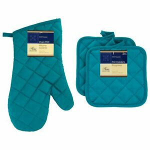 Home Collection Turquoise Cotton Oven Mitt Glove Kitchen Heat Resistant Pot Hold