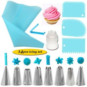 Cake Decorating Kit Russian Piping Tips Pastry Icing Bags Nozzles 14pcs Set Blue