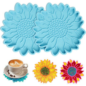 2X DIY Silicone Sunflower Coaster Resin Molds Epoxy Casting Handmade Craft Mould