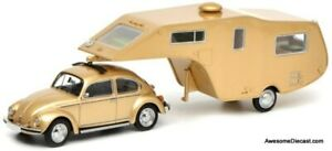 Schuco 1:43 VW Beetle 1200 w 5th Wheel Camping Trailer