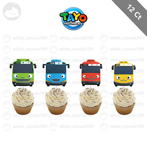 12 Tayo the Little Bus Birthday Cupcake Cake Topper Food Pick Favor Party