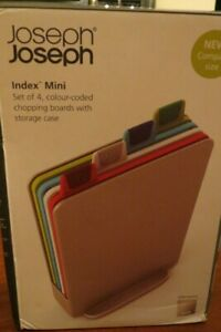 Joseph Joseph Index Mini set of 4 coulor-coded chopping boards /storage case NEW