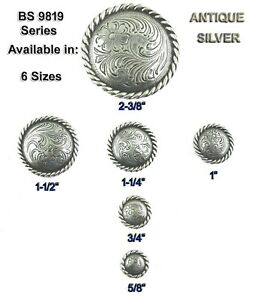 CONCHOS LOT OF 6 ANTIQUE SILVER ROUND ROPE EDGE 9819 SERIES WESTERN 6 Sizes