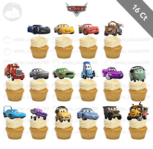16 Disney Cars Lightning McQueen Storm Cupcake Cake Topper Food Pick Favor Party
