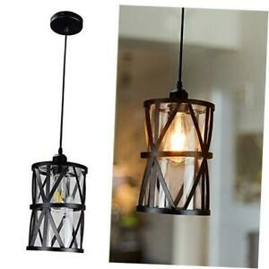DLLT Industrial Pendant Light, Metal Hanging Ceiling Lights Fixture with Clear G
