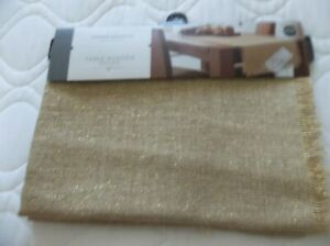 NWT'S TARGET THRESHOLD HOLIDAY CHRISTMAS GOLD JUTE TABLE RUNNER 20 X 72