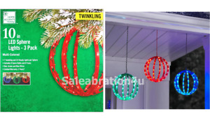 3-PACK 10-IN DIA. MULTI TWINKLING SPHERES WITH 120 LED RED, GREEN