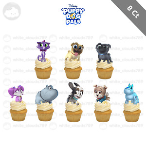 8 Puppy Dog Pals Cat Characters Cupcake Cake Topper Food Favor Party Birthday